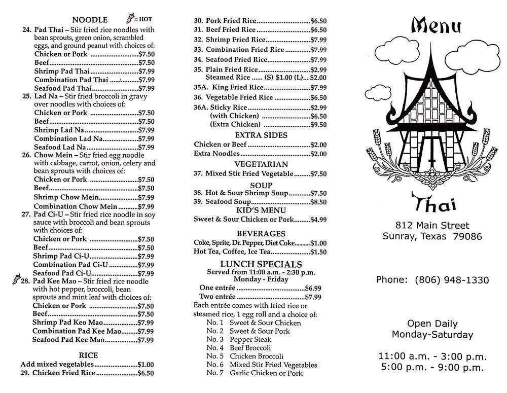 Thai Country Cafe: 812 Main St, Sunray, TX