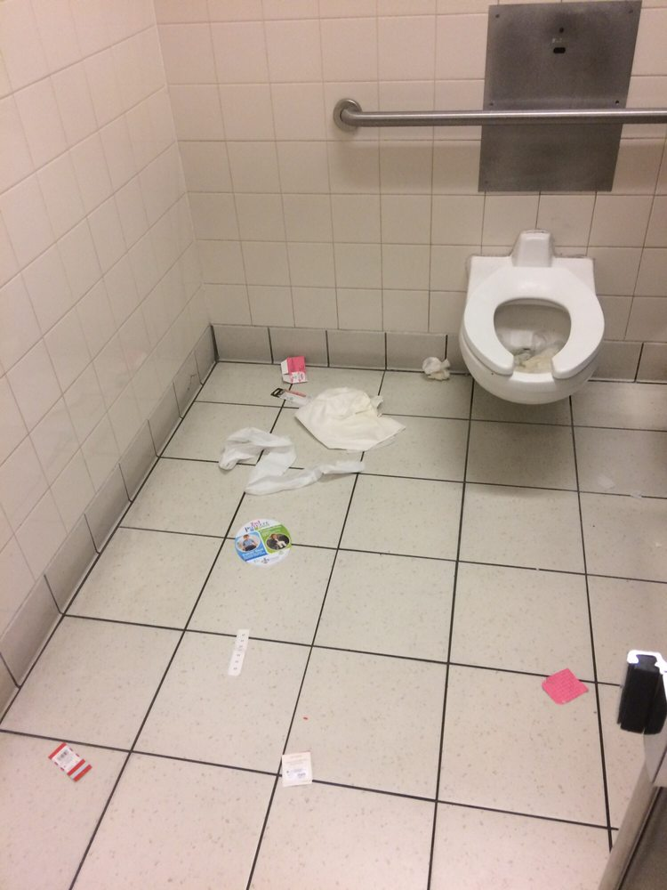 Bathroom Yelp disgusting handicap stall in women's bathroom with clogged toilet