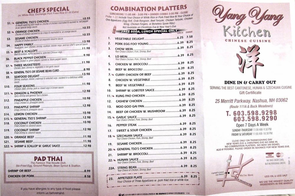 online menu of yang yang kitchen restaurant nashua new