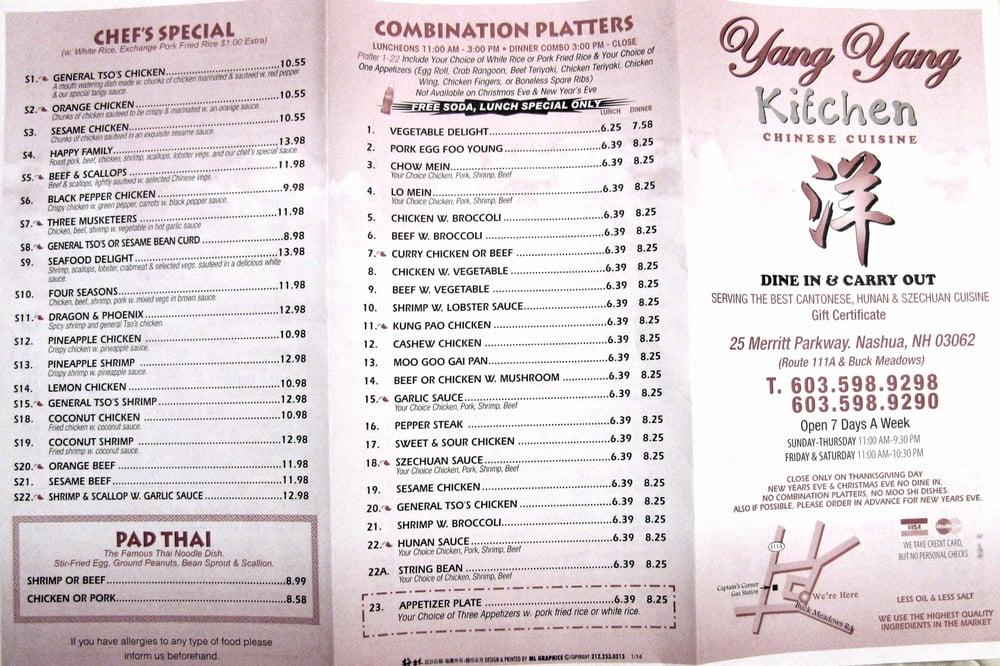 online menu of yang yang kitchen restaurant nashua new