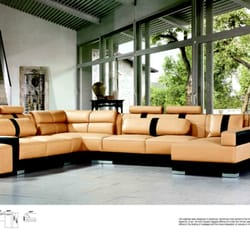 Photo Of Intra Furniture   Kent, WA, United States. Yellowu0026Black Bonded  Leather Sectional ...
