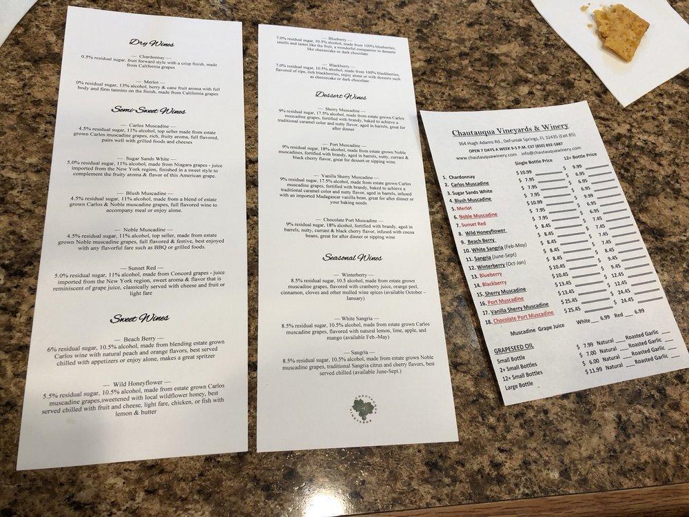 Chautauqua Vineyard & Winery: 364 Hugh Adams Rd, Defuniak Springs, FL