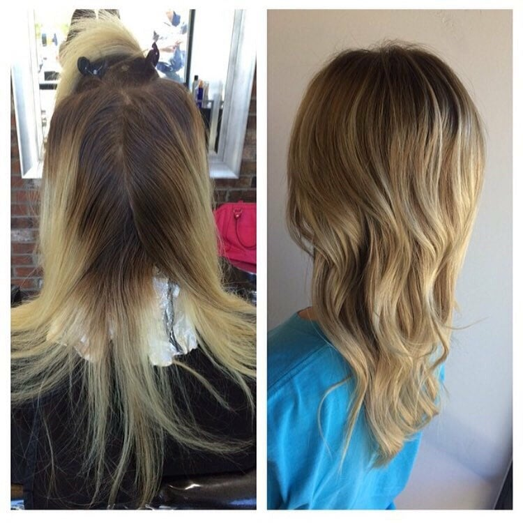 before and after of a color done by jade piper yelp