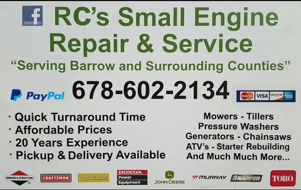 RC's Small Engine Repair: 113 Hilltop Cir, Auburn, GA
