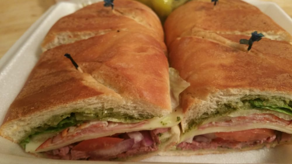 Photo of Larry's Wine and Spirits - Palm Springs, CA, United States. Don Veto; Roast beef, Cappocollo, Mortadella, Salami, Provolone with the spicy Pesto.