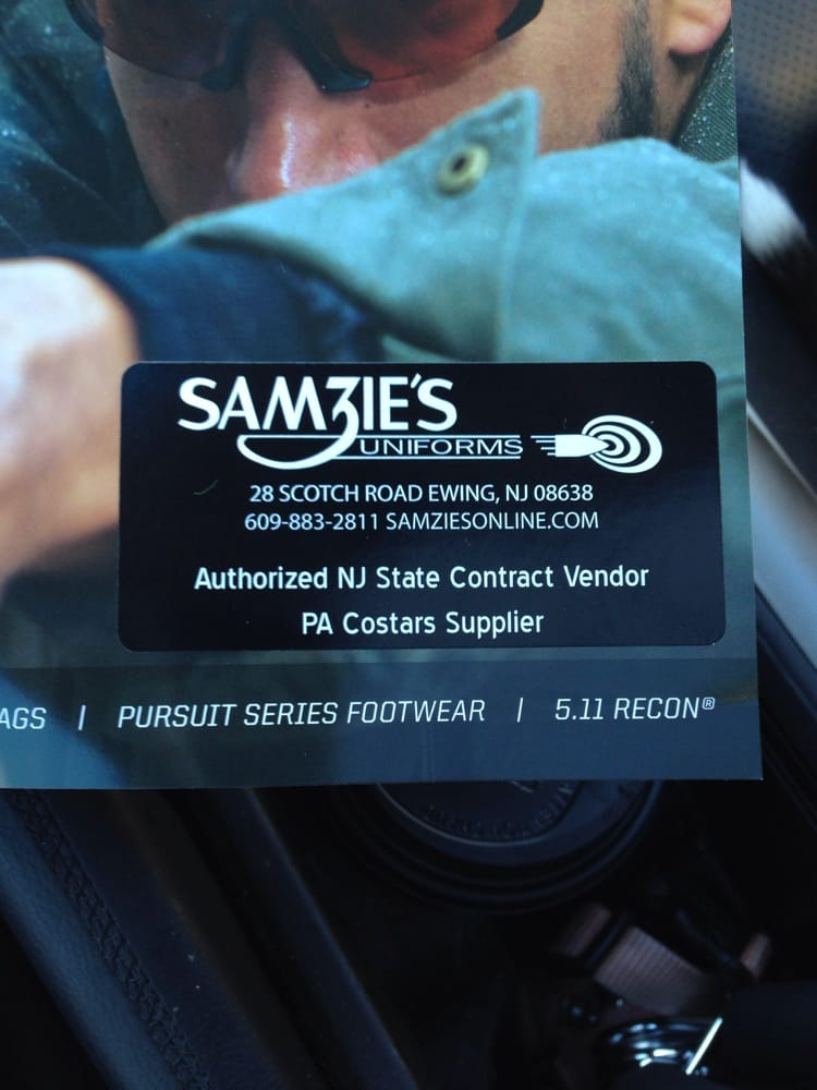 Samzies\'s uniforms business card- everything for Fire-EMT-police ...