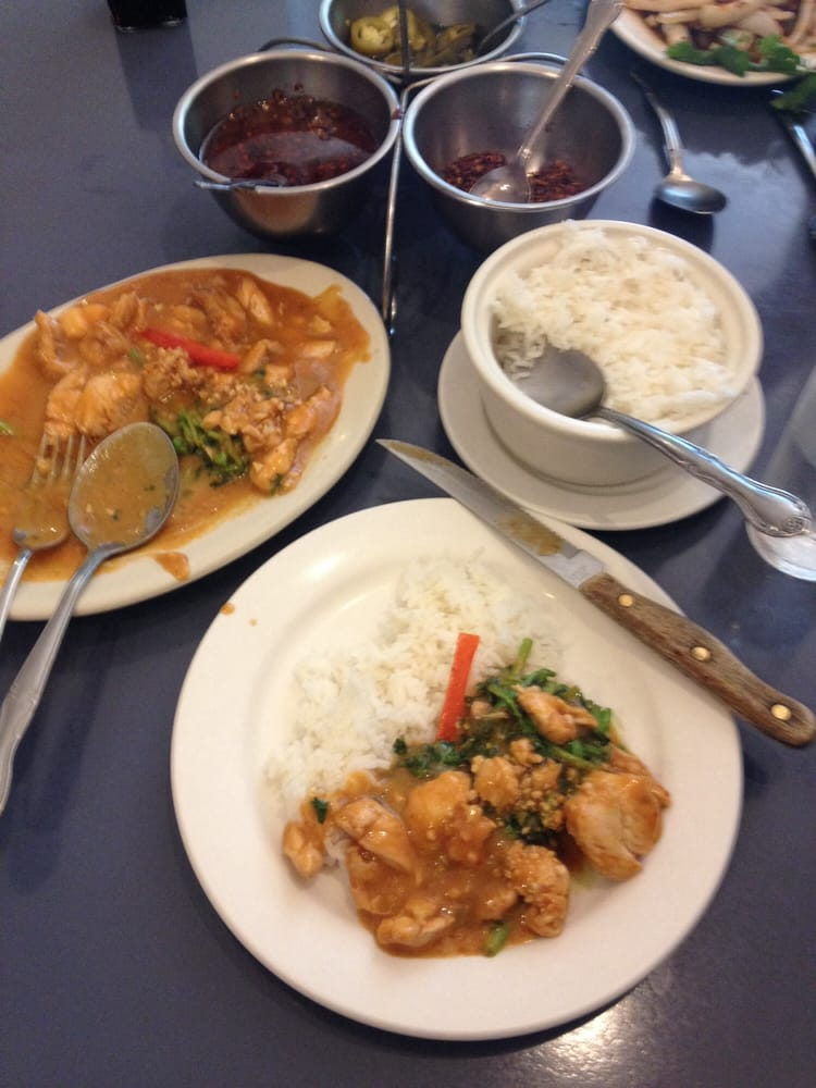 Spicy peanut chicken over watercress yelp for At siam thai cuisine