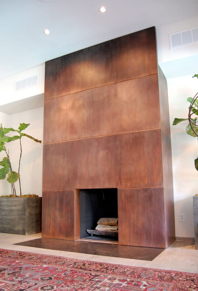 Patinated steel fire place surround yelp for Martin metal designs