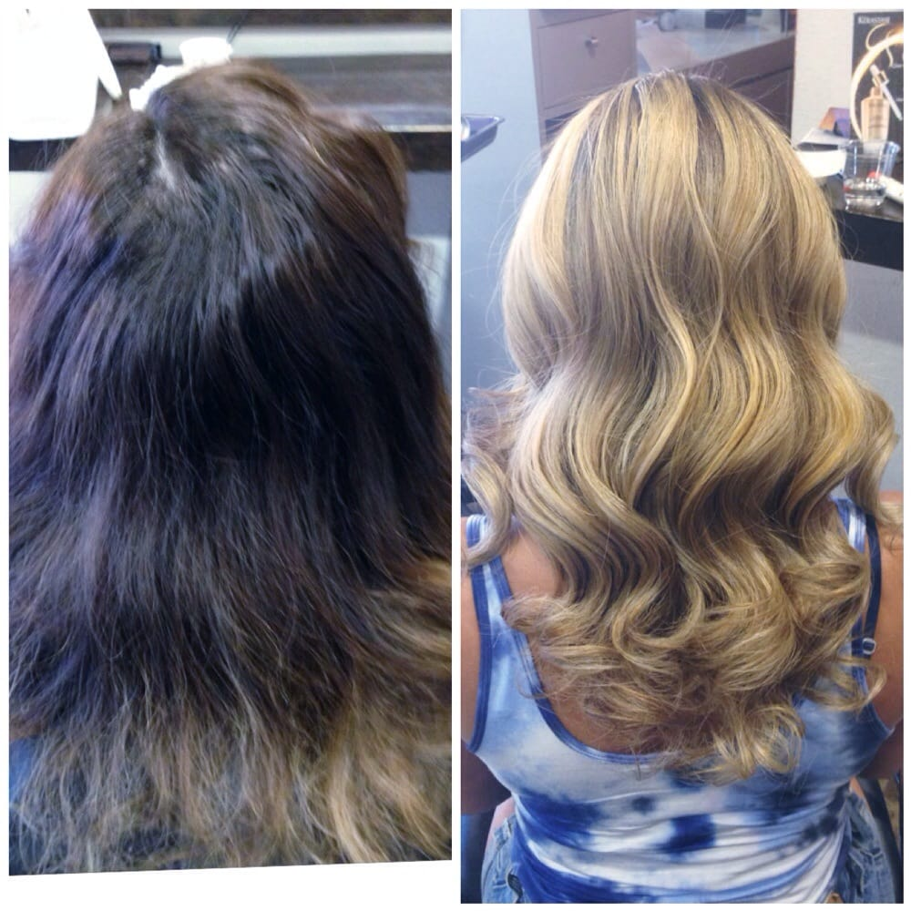 Before And After Balayage Highlights And Brazilian Blowout By Veka