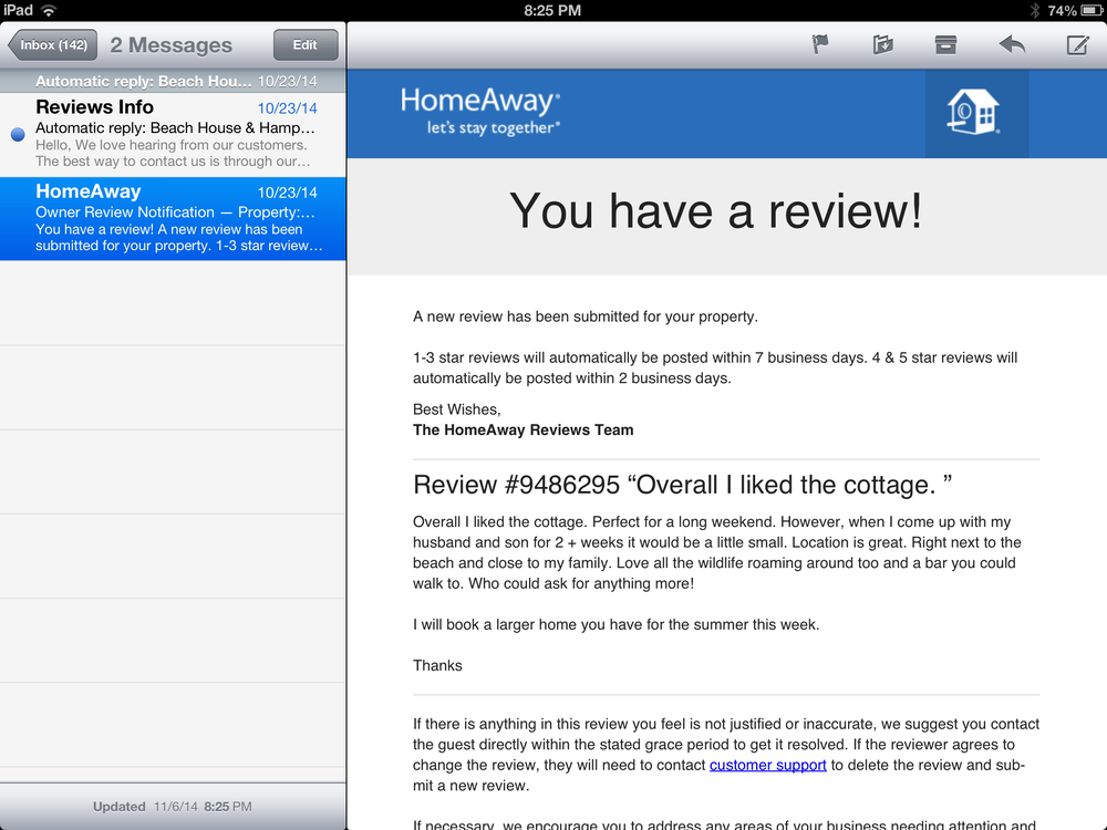 A Homeaway Review - Yelp