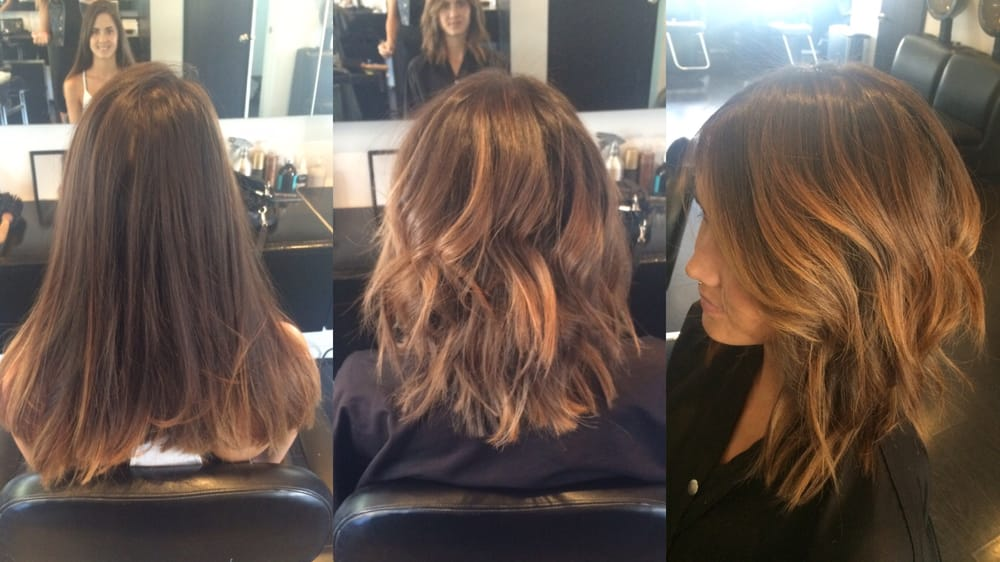Before and after of this soft undercut lob with balayage by denessa sims yelp - Balayage cheveux avant apres ...