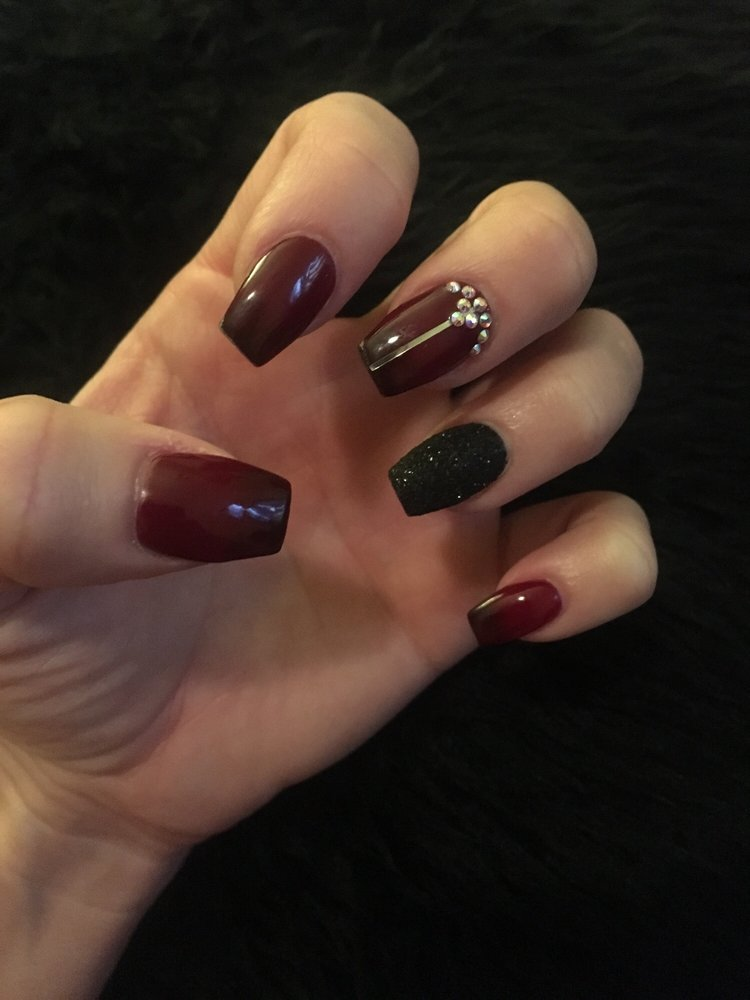 Burgundy Black Ombré Coffin Nails With Glitter And Rhinestones I