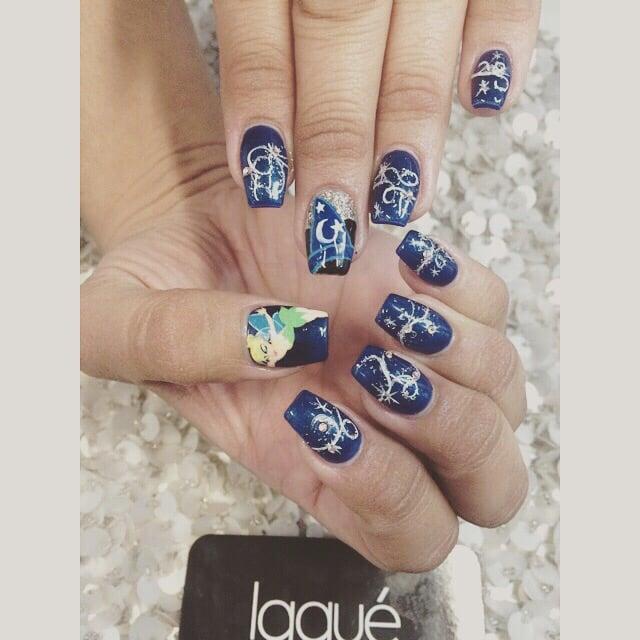 Disneys 60th Diamond Celebration Nails She Hand Painted Tinkerbell
