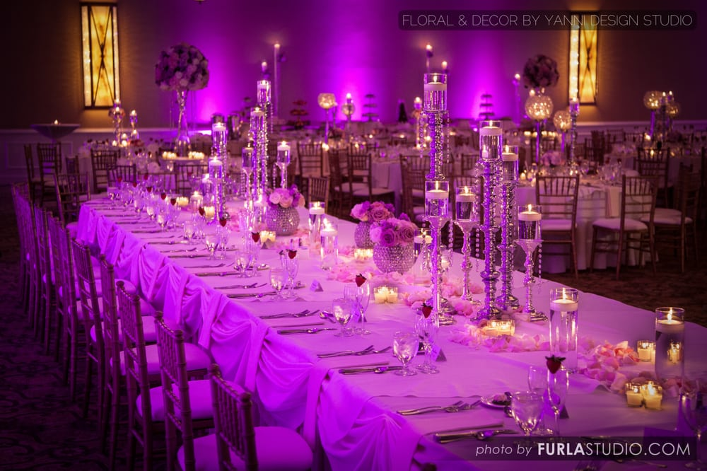Romantic Wedding Reception Head Table Decor Showcasing The Beautiful