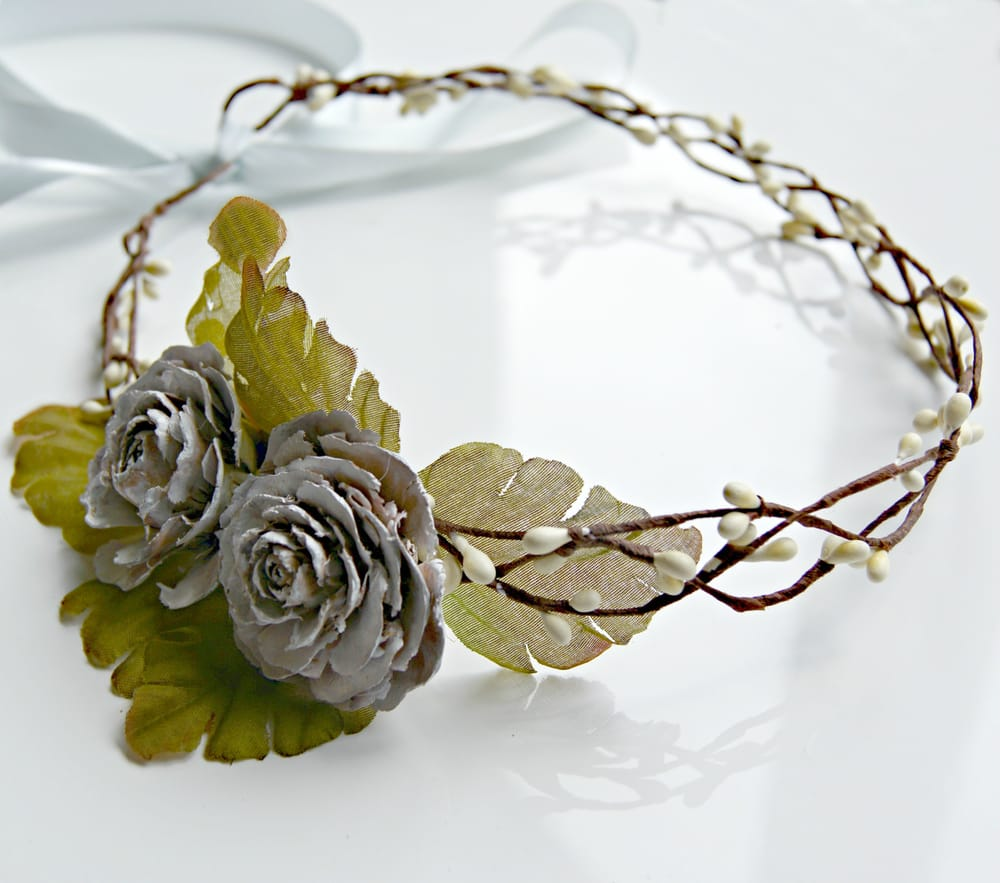 Woodland wedding bridal flower crown pine cone rose crown flower photo of nautilus accessories vancouver bc canada woodland wedding bridal flower izmirmasajfo