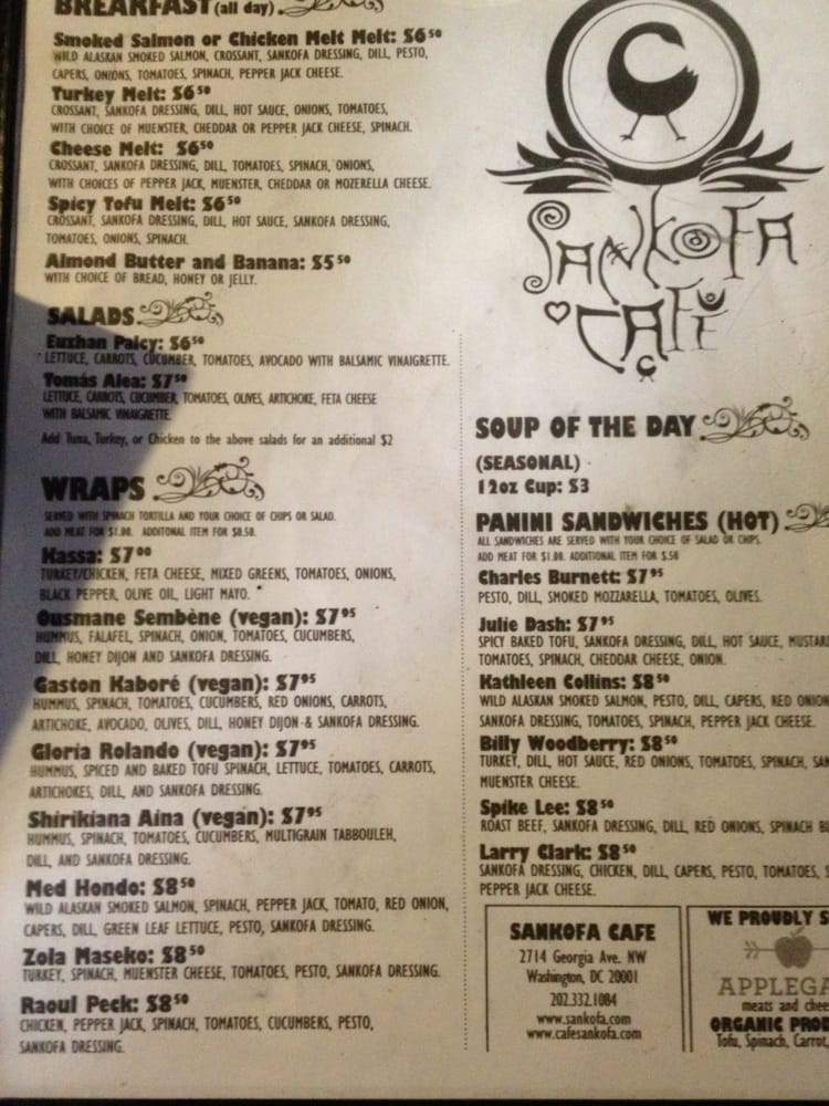 Sankofa Cafe Menu