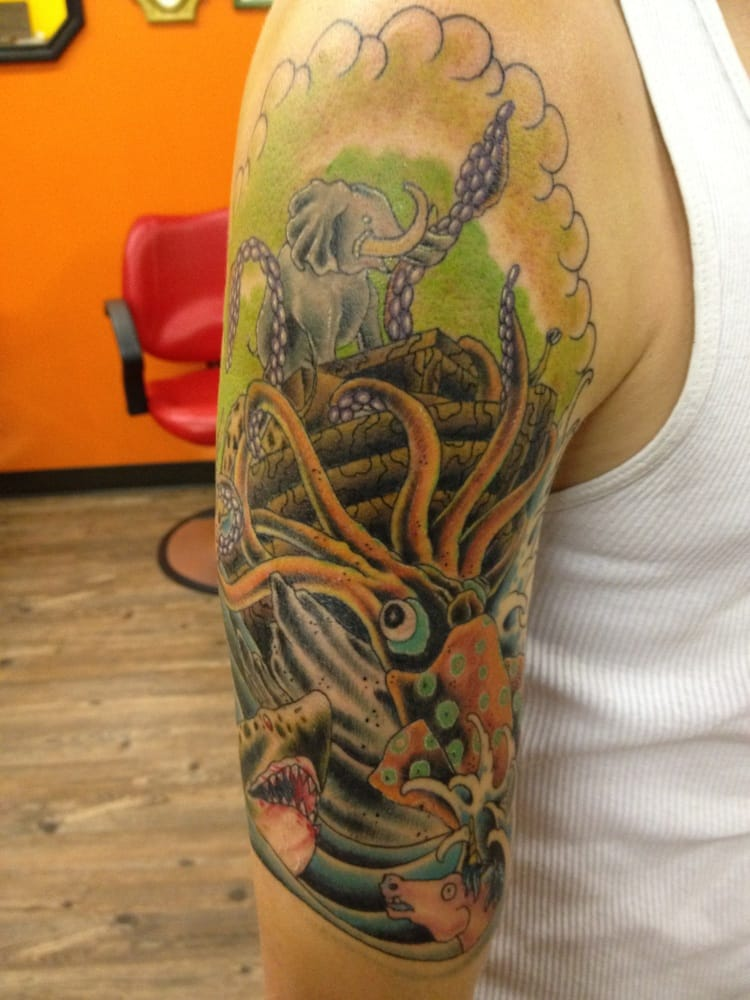 Half sleeve of noah 39 s ark getting attacked by a giant for Tattoo removal in kansas
