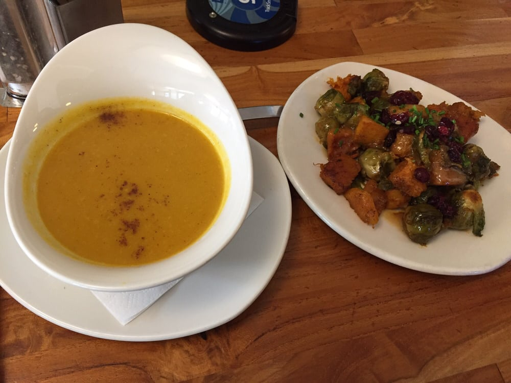 Butternut squash soup and Brussel sprouts and squash - Yelp