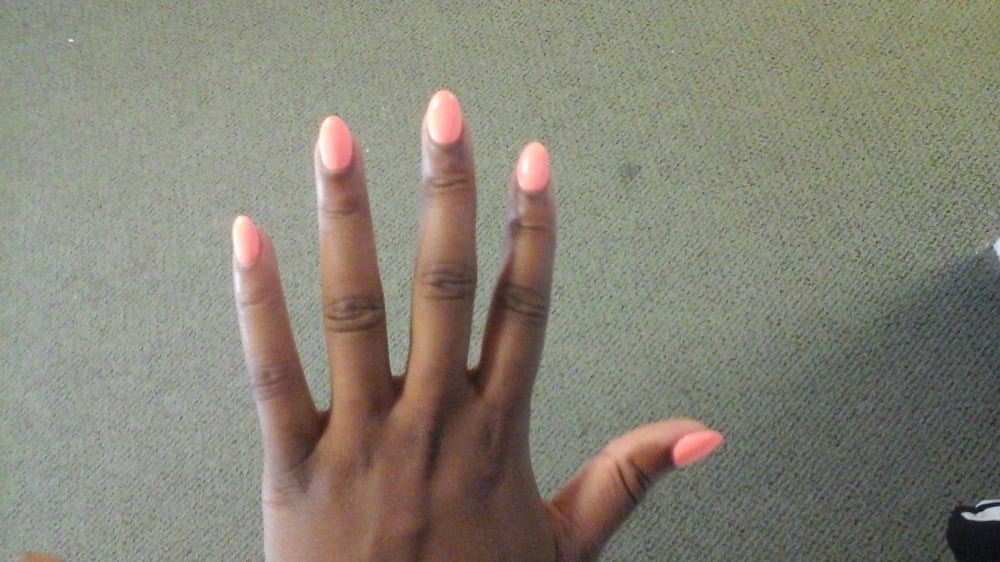 rounded point. Gel powder acrylic. With regular neon orange nail ...