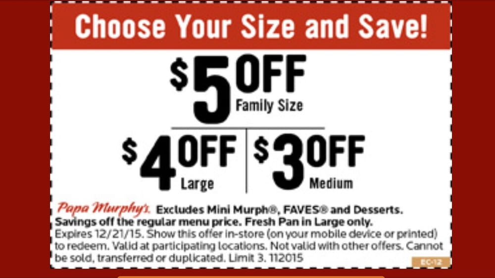 graphic about Papa Murphys Printable Coupons referred to as Suitable package deal right until 12/21, exhibit coupon upon cell phone! - Yelp
