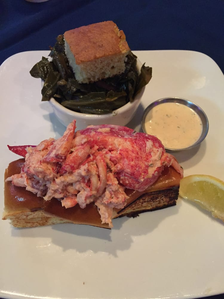 Lobster roll with a side of collard greens and cornbread - Yelp