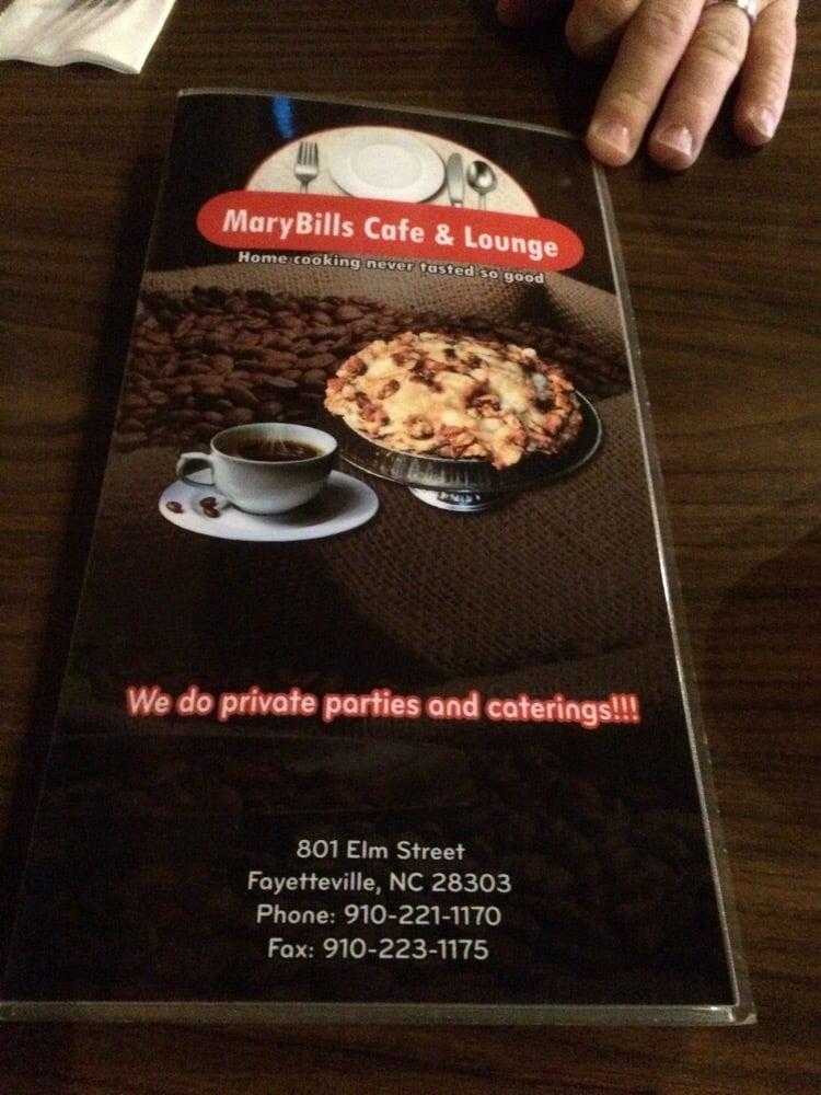Mary Bills Cafe Menu