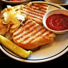 ... Sliced Meatball Sandwich Panini with Marinara Sauce, Chips and a