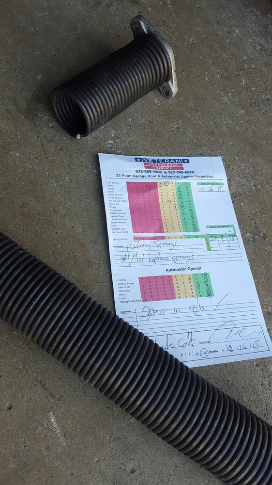 Broken spring and inspection yelp for Veteran garage door