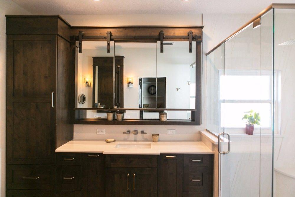Sliding Barn Door Vanity Mirror In Bathroom Remodeled By KBF Yelp - Bathroom vanities bonita springs fl