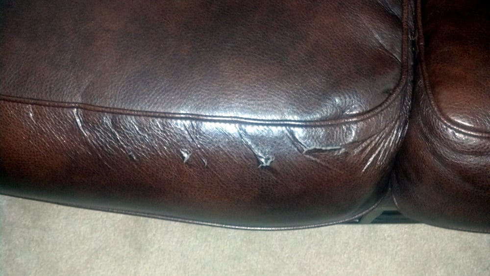 Leather peeling from couch and love seat from Ashley ...