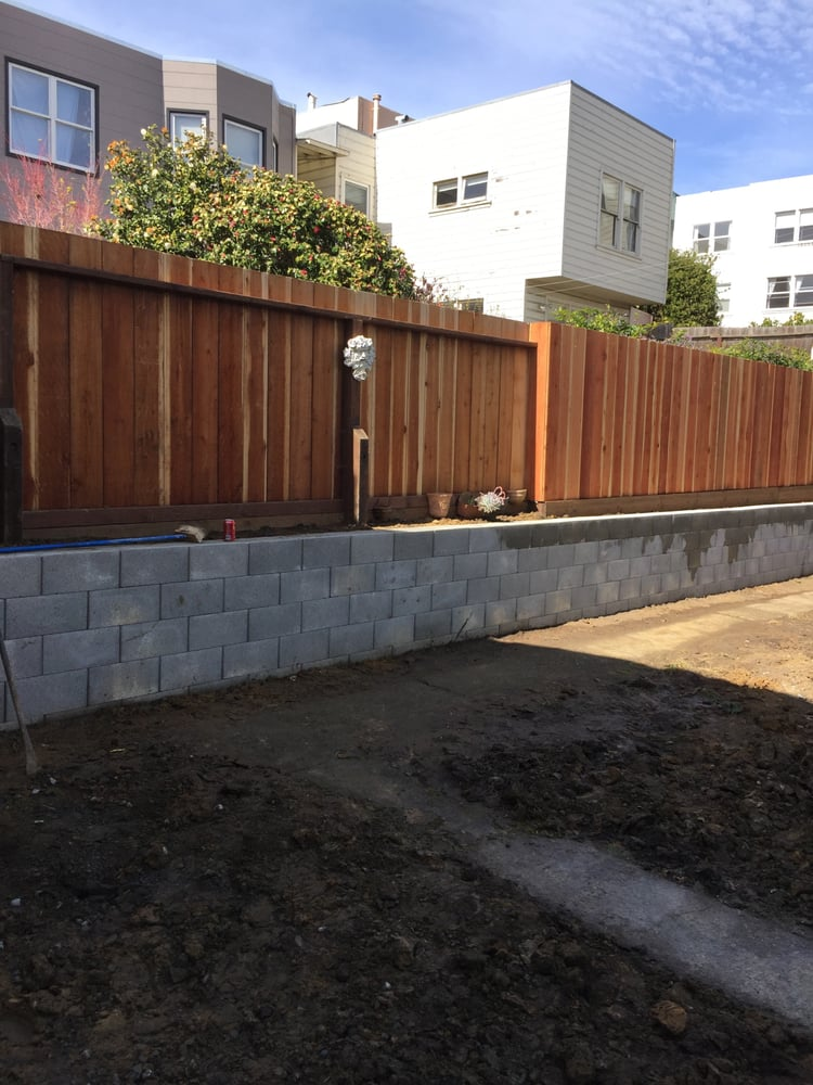 New Cinder Block Retaining Wall Installed In San Francisco
