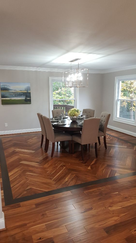Creative Hardwood Design In Herringbone Pattern W Border To Define Stunning Flooring For Dining Room Creative