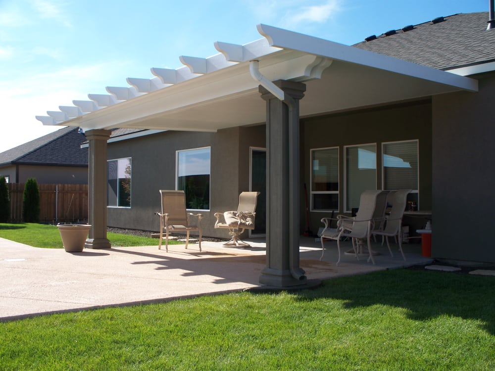 Insulated patio cover with stucco columns yelp for Stucco patio cover designs
