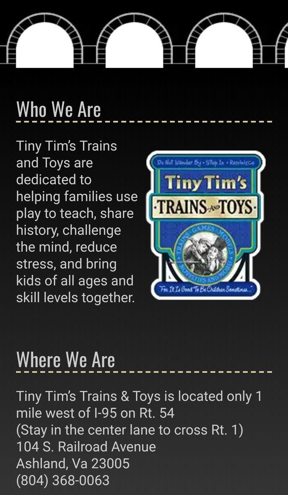 Tiny Tim's Trains & Toys: 104 S Railroad Ave, Ashland, VA