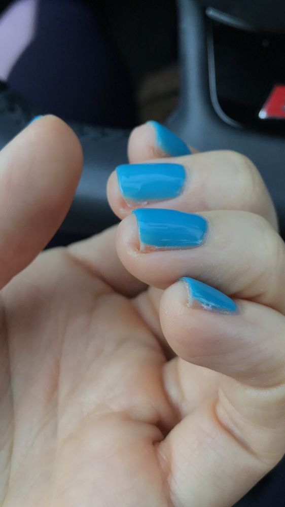 Nails cut way too short and gel polish not even covering the full ...