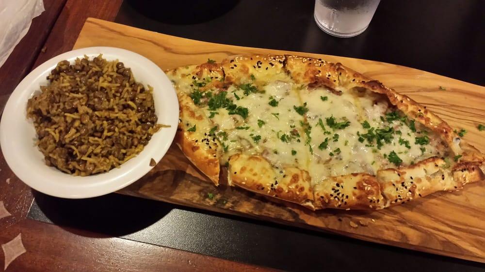 pastrami fatayer pizza with fresh feta mozzarella. Black Bedroom Furniture Sets. Home Design Ideas