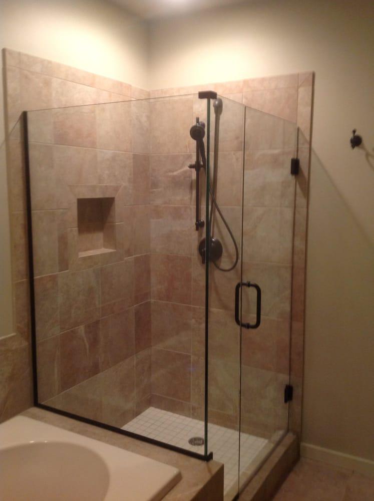 Custom Shower Door With Panel Oil Rubbed Bronze Channel