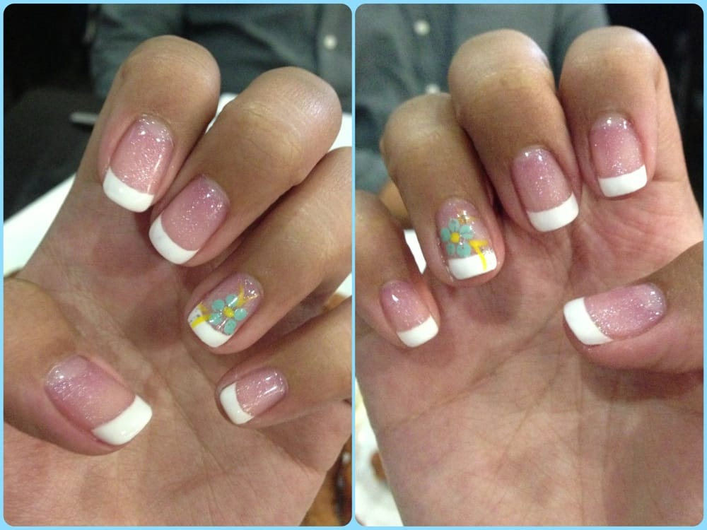 Left & Right hand w/ French tip gel nails & a flower design - Yelp