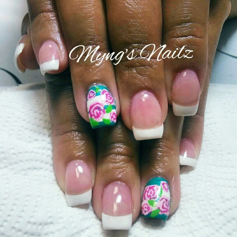 French Tip Nails with 2 finger Nail Design, Flower Nail Design - Yelp