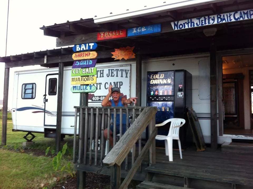 North Jetty Pier Bait Camp: 802 17th St, Port Bolivar, TX