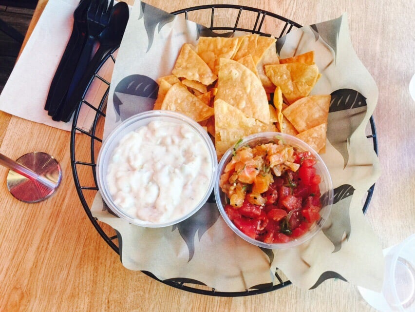 Clam chowder on the left and tuna and salmon poke on the for Seasalt fish grill