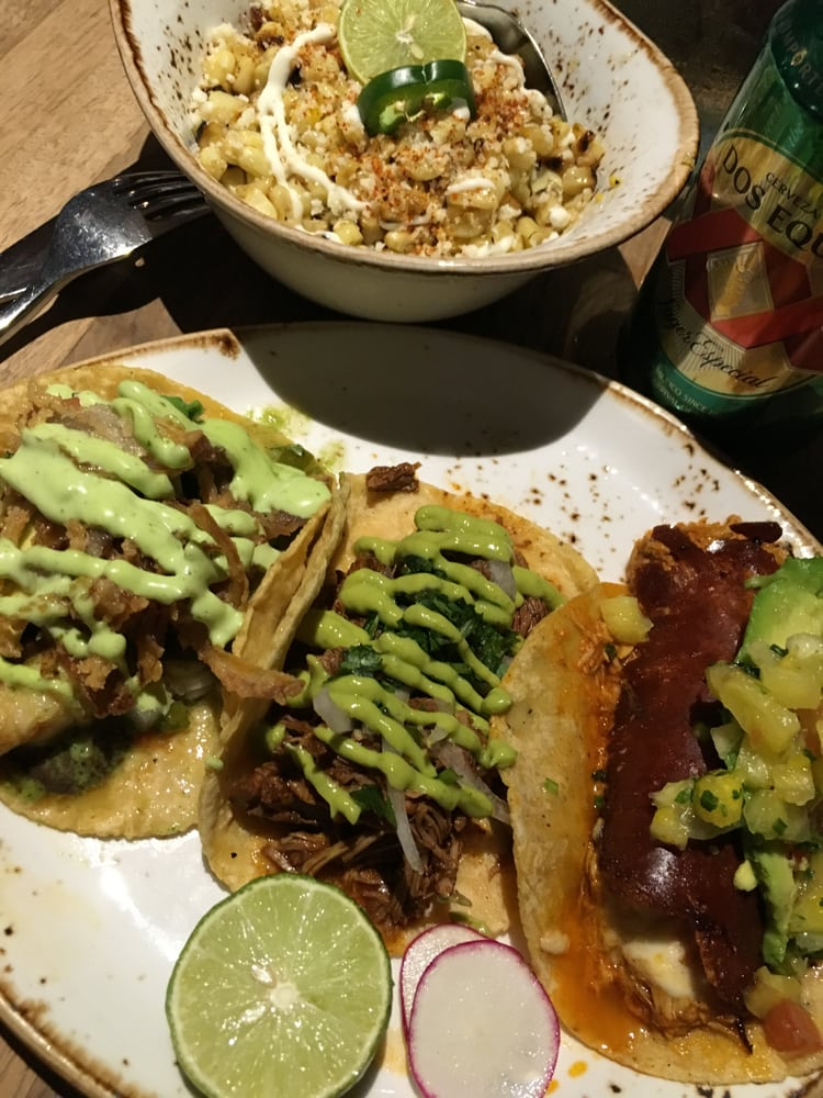 Esquite (a grilled corn side dish), Lobster Taco, Lamb