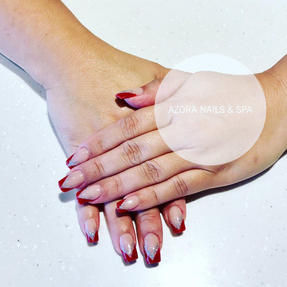 Nail Salon Katy: Red & Nude Glitter Nails #glitternails #acrylicnails