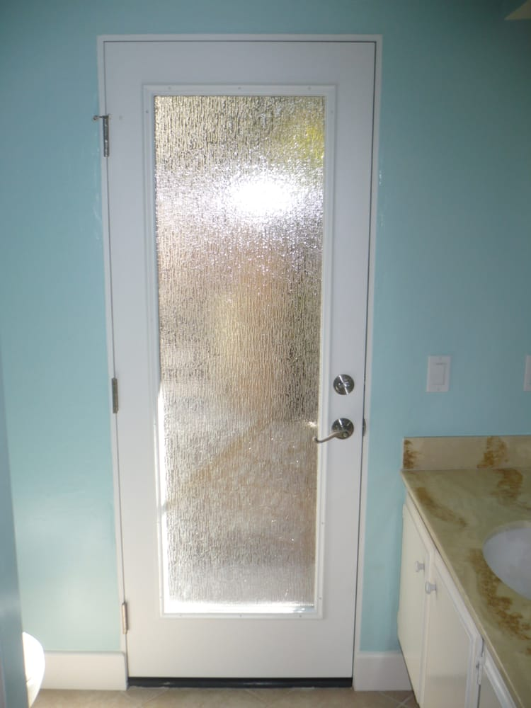 Photo of JWG Windows u0026 Doors - Poway CA United States. New Pre & New Pre-hung Door with Rain obscured glass. - Yelp