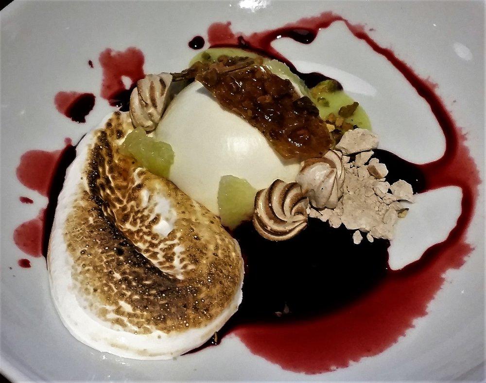 Chevre Cheesecake w/ burnt meringue, lime, huckleberry ...