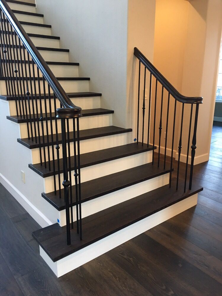 White oak square edge treads with white risers black - Interior stair treads and risers ...