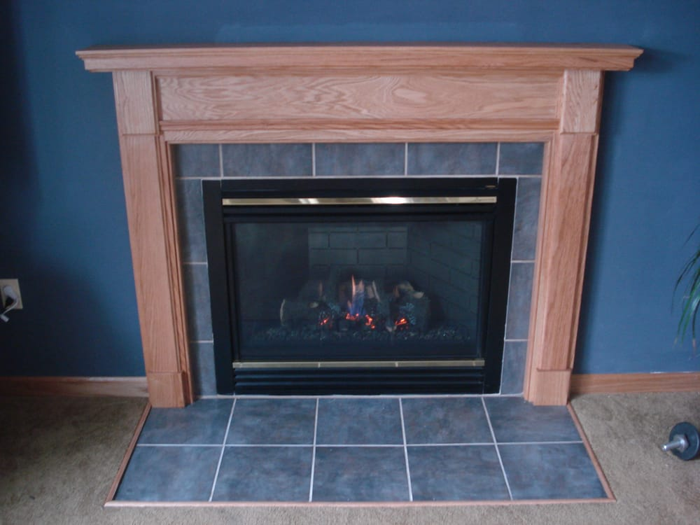 Existing Gas Fireplace Face Lift Mantel Amp Tile Yelp