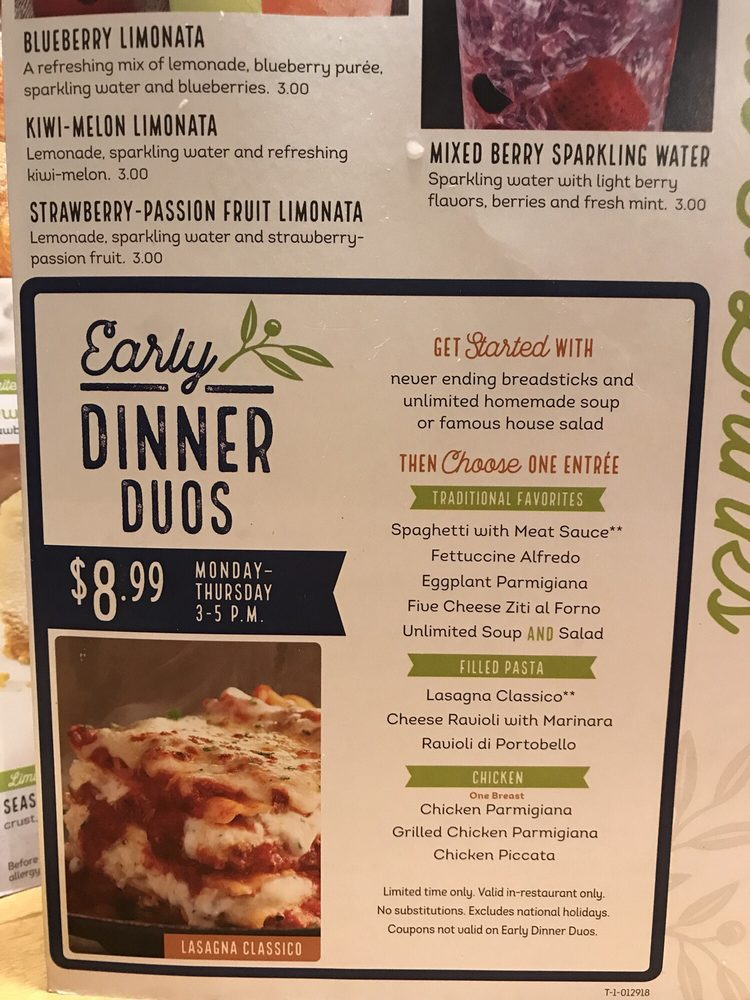 Early dinner duo options yelp - Olive garden online reservations ...