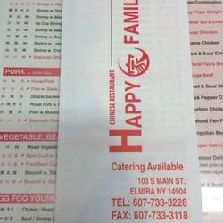 Happy Family Chinese Restaurant Elmira Ny Menu