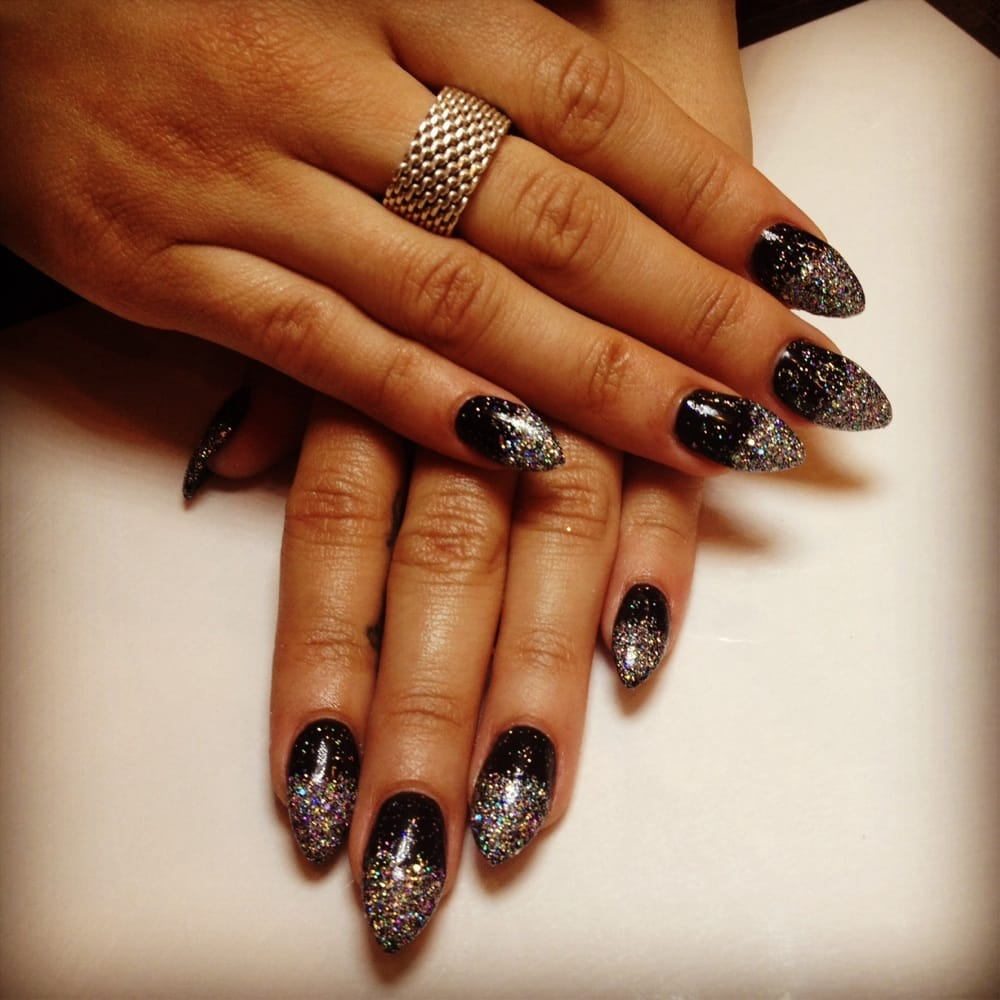 New Years themed nails. Black stilettos with glitter ombré! - Yelp